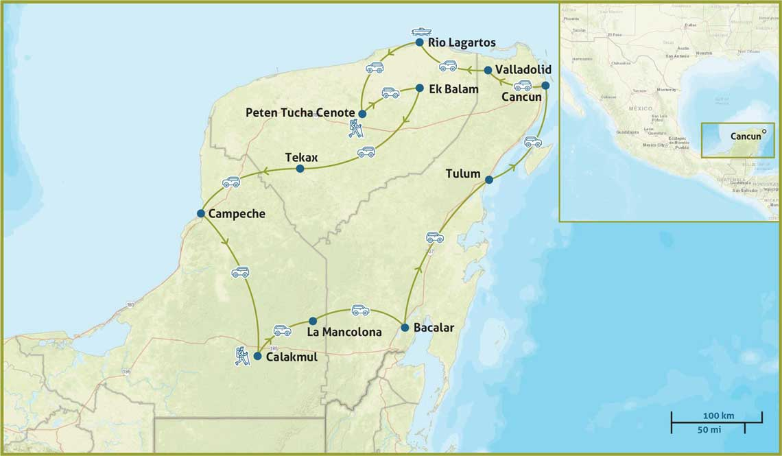 Yucatan Reise Karte