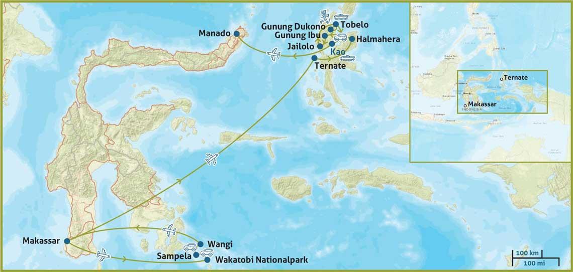 Sulawesi und Molukken Reise Karte