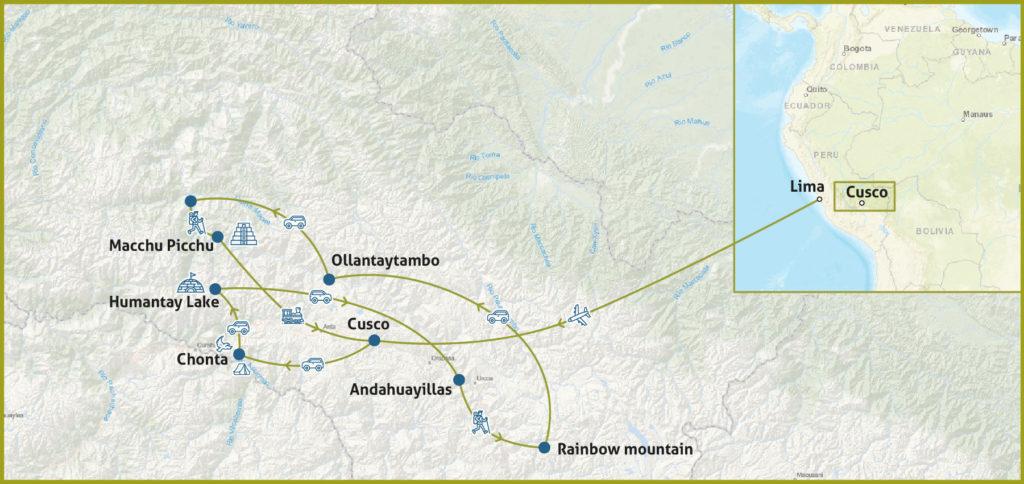 Abenteuerreise in Peru Karte