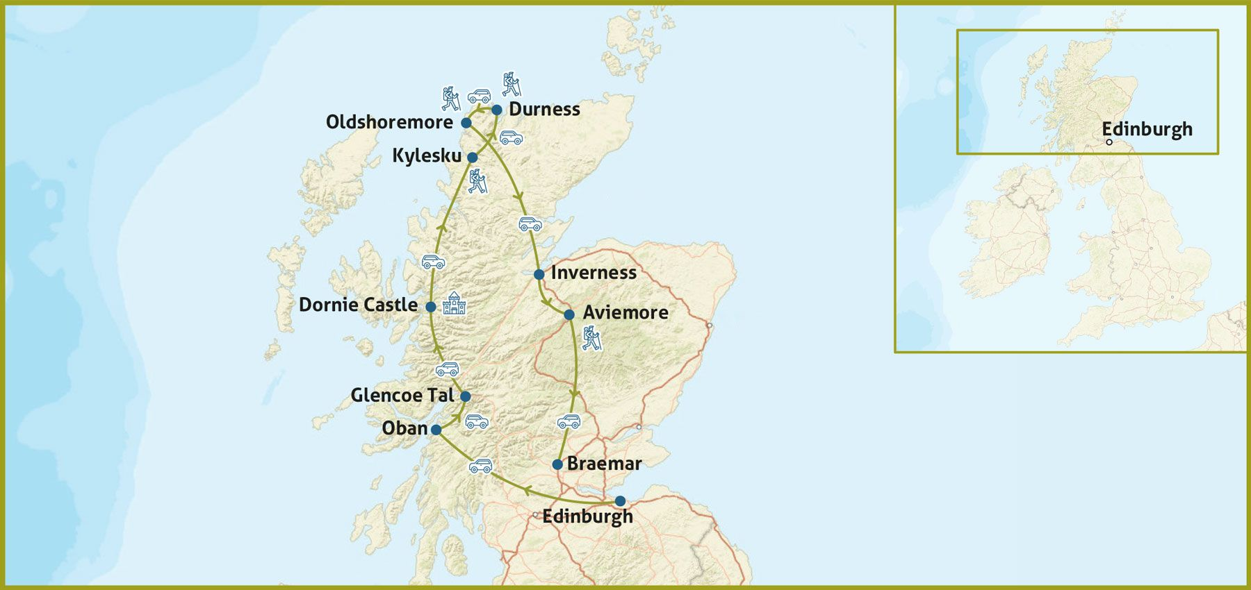 Nord Schottland Highlands Karte