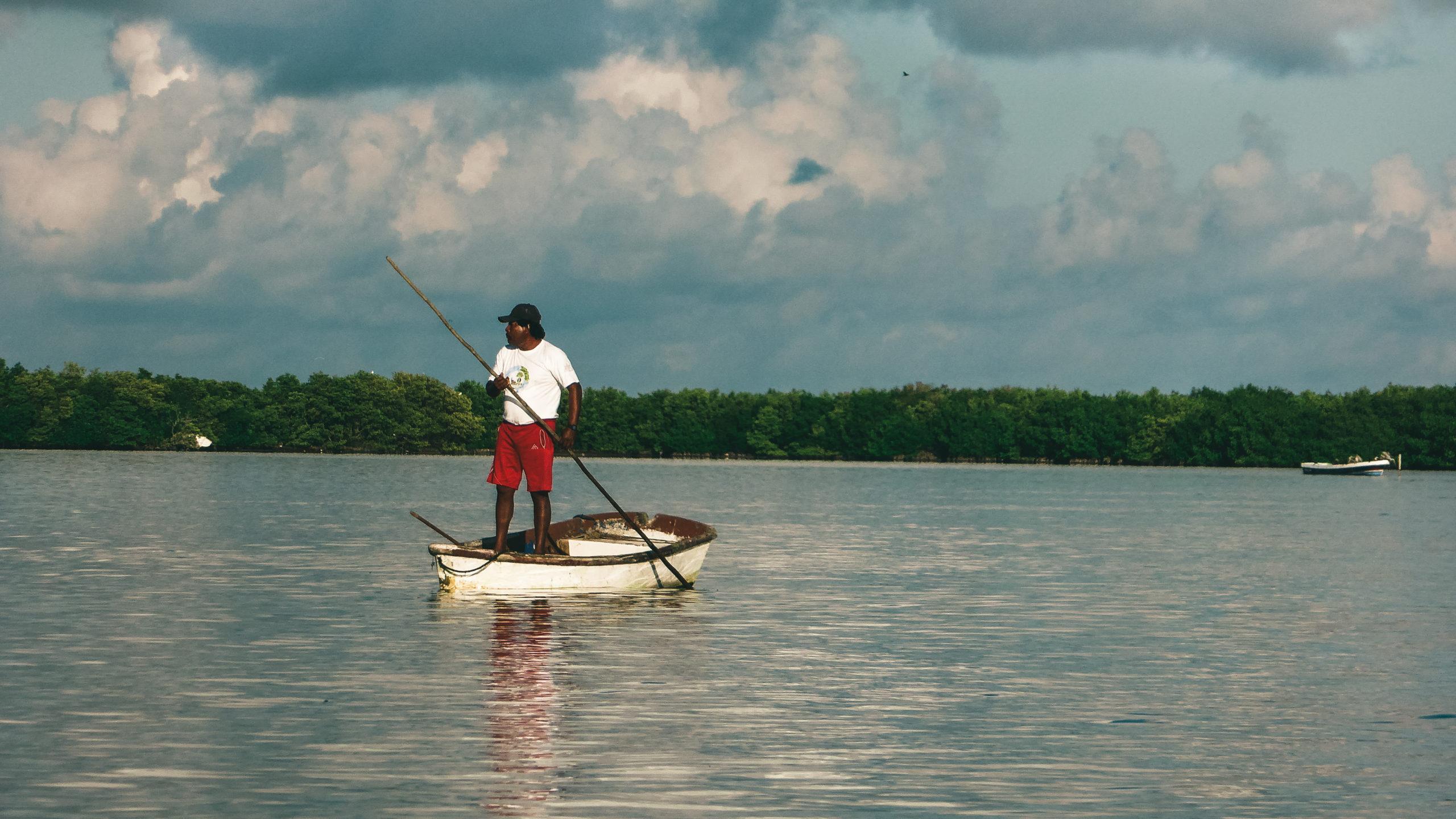Fischerboot in Rio Lagartos Mexiko, Yucatan